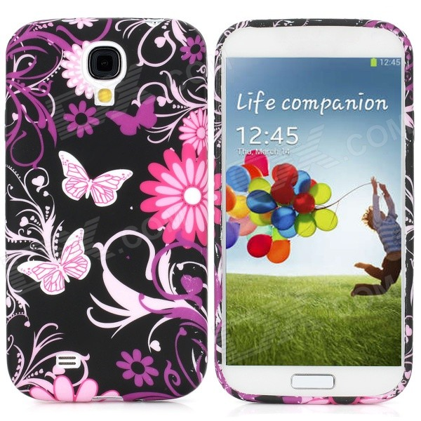 Protective Butterfly Pattern Back Case for Samsung Galaxy S4 i9500 - Purple + Black + Pink protective cute spots pattern back case for samsung galaxy s4 i9500 multicolored