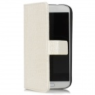 Protective Alligator Grain PU Leather Case w/ Card Slot for Samsung Galaxy S4 - White + Black