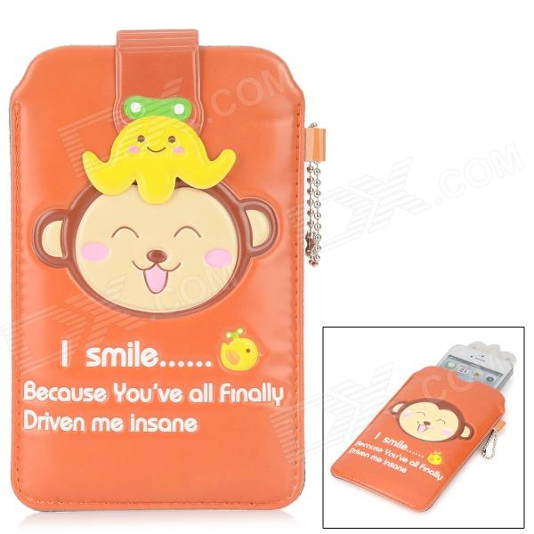Protective Cute Monkey Pattern PU Leather Pouch Bag for Iphone - Deep Orange