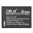 DEJI DJ-BL-5B Replacement 3.7V 900mAh Li-ion Battery for Nokia 3220 / N80 / 5300 / 5320XM - Black