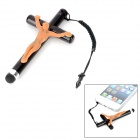 Cross Style Universal Capacitive Screen Stylus Pen w/ 3.5mm Anti Dust Plug - Black + Nude