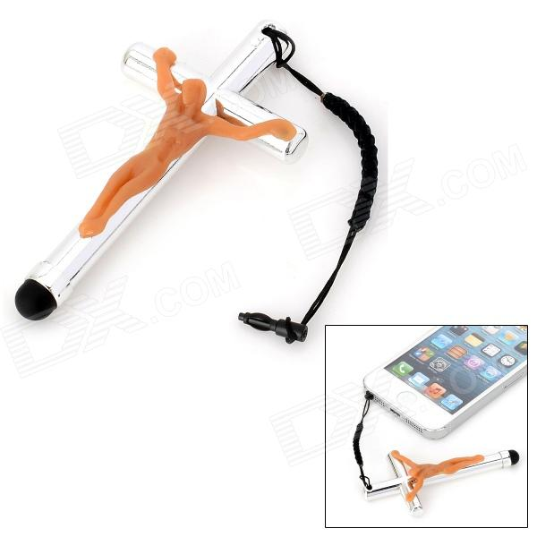 YB-002 Crucifixion of Jesus Style Capacitive Touch Screen Stylus + 3.5mm Dust Kit - Flesh + Silver