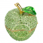 YLS742 Stylish Green Apple Shape Crystal-inlaid Tin Alloy Jewel Box / Handcraft - Green + Golden