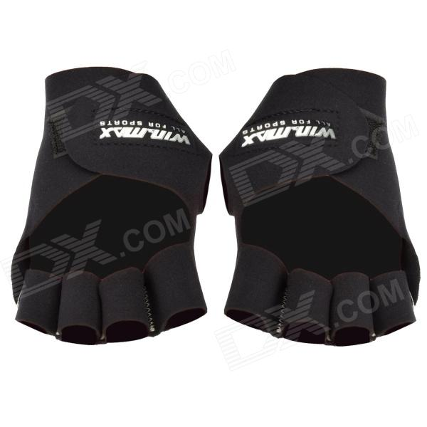 Win Max WMF09136 Exercise Fitness Half-finger Gloves - Black (Pair) win max body exercising fitness step band chest developer red black