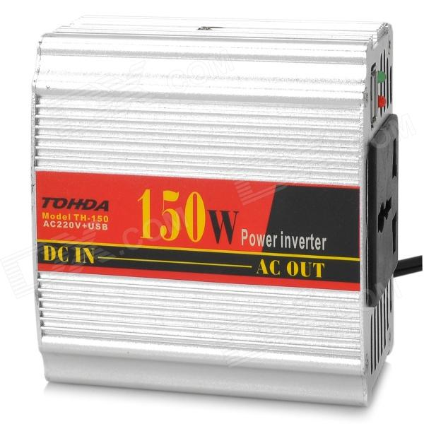 TOHDA TH-150 150W Car DC 12V to AC 220V Power Inverter - Silver 600w off grid inverter pure sine wave inverter for solar and wind system 110v dc to ac 100 110 120 220 230 240v