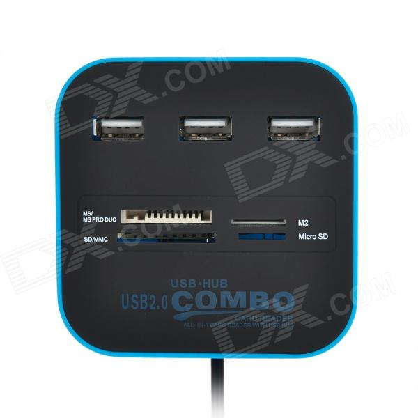3-port USB 2.0 Hub + MS/MS PRO DUO, M2, SD/MMC, Micro SD Card Reader - Blue + Black multi functional usb hub controller charger sd tf ms duo card reader for ps3 slim black