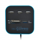 3-port USB 2.0 Hub + MS/MS PRO DUO, M2, SD/MMC, Micro SD Card Reader - Blue + Black