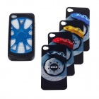 Car Wheel Style Silicone Protective Case for Iphone 4/4S - Black + Blue