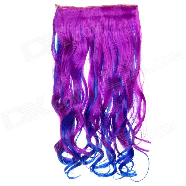 Fashion Long Curly Gradient Highlight Hair Wig - Purple + Deep Blue