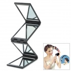 Portable 4-Fold Folding Cosmetic Mirror - Black