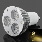 GU10 6W 240lm 3500K 3-Epileds LED Warm White Light Bulb - Silver + White (85~265V)