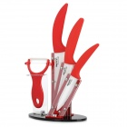 BECONN BJ30456PR 5-in-1 Ceramic Knives + Peeler + Stand Set - White + Red