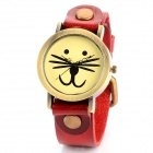 63372 Cute Cat Face Pattern PU Band Quartz Wrist Watch - Red + Bronze (1 x 377)