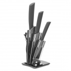 BECONN BJ20456PB 5-in-1 Ceramic Knives + Peeler + Stand Set - Black