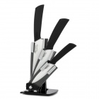 BECONN BJ20456P 5-in-1 Ceramic Knives + Peeler + Stand Set - White + Black