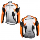 NUCKILY NJ528-W Cycling Bicycle Bike Riding Long Sleeves Jersey - Orange + Black + White (Size L)