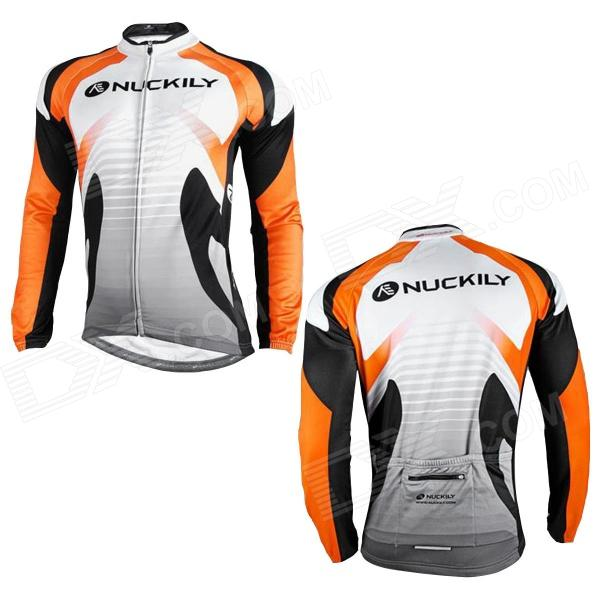 NUCKILY NJ528-W Cycling Bicycle Bike Riding Long Sleeves Jersey - Orange + Black + White (Size M)