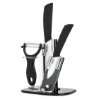BECONN BJ2035P 4-in-1 Ceramic Knives + Peeler + Stand Set - White + Black