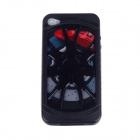 Electroplating Wheel Style Protective Silicone Plastic Case for Iphone 4 / 4S - Black