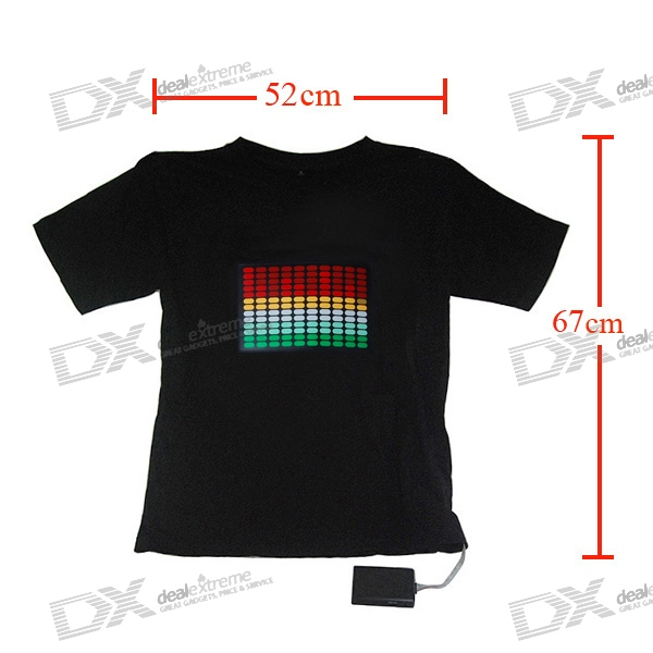 Sound and Music Activated Spectrum VU Meter EL Visualizer T-shirt - M (4*AAA)