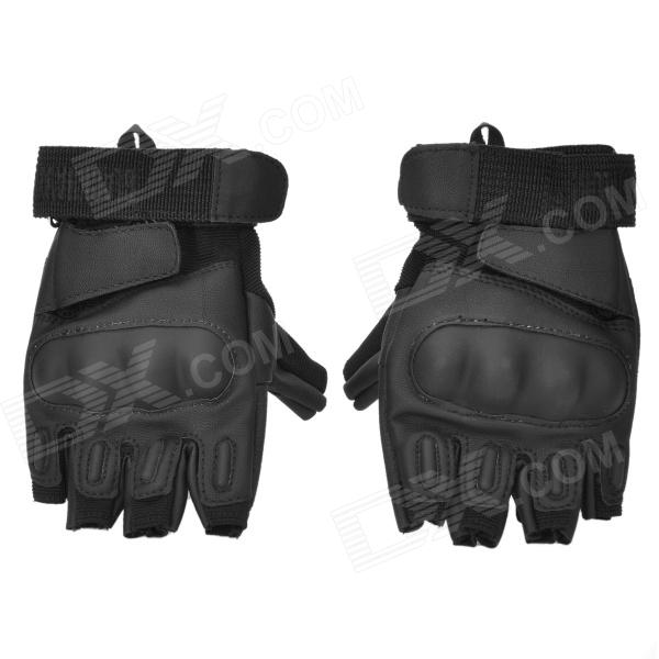 Tactical Half Finger Riding Gloves w/ Hard Plastic Pad - Black (Size-XL / Pair)