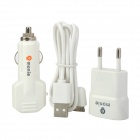 Monie xh-21 3-in-1 Car Charger + Charging Adapter + Cable for iPhone / iPad / iPod - White