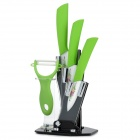 "TJC TJC-033C 5-in-1 3"" 4"" 5"" Ceramic Knives + Peeler + Stand Set - Green"
