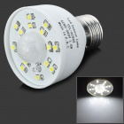 SZCR-AC002 E27 1.6W 120~180lm 6000~6500K 15-3528 SMD LED White Light Sensor Lamp - White