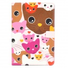 Lofter Cartoon Cat Pattern Protective PU Leather for iPad Mini - Coffee + Pink + White