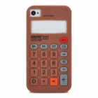AD-837 Calculator Style Protective Silicone Soft Back Case for Iphone 4 / 4S - Coffee
