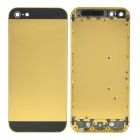 Replacement Aluminum Alloy + Glass Back Case for iPhone 5 - Golden + Black
