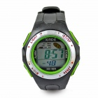 Sports Water-resistant Resin Band Digital Wrist Watch - Green + Black