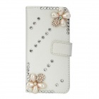 Rhinestones + Beads Decorated Protective PU Leather Case for Iphone 5 - White
