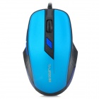 RAJOO V3 USB 2.0 Wired 800 / 1200 / 1600 / 2400dpi Optical Game Mouse - Black + Blue (150cm-Cable)