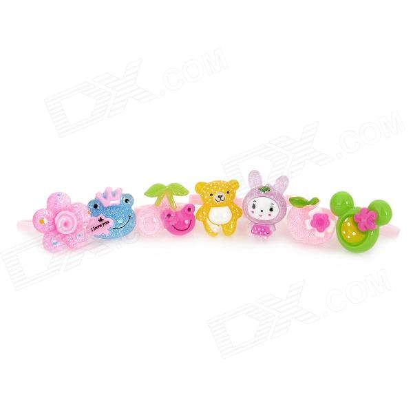 1000G Okitoki Cartoon Plastic Finger Rings (4 x 7 PCS)