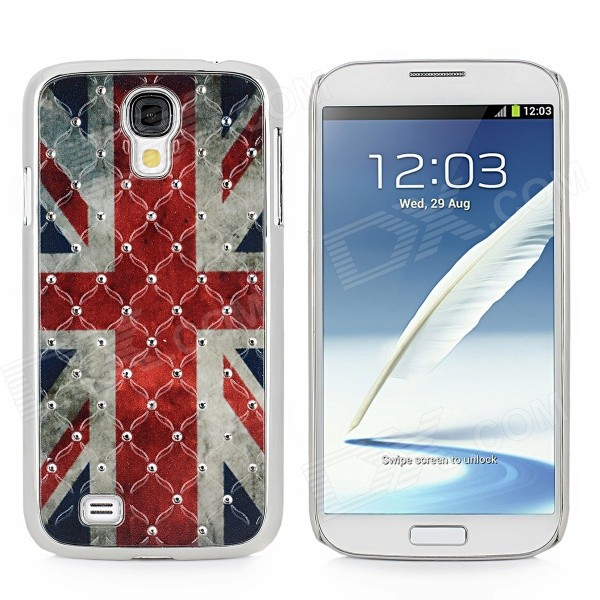 Retro UK Flag Style Protective Rhinestone + Plastic Case for Samsung Galaxy S4 i9500 - Red + Blue london street style protective plastic back case for samsung galaxy s4 i9500 black red