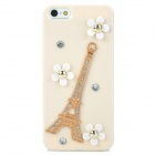 3D Eiffel + Flower Protective Plastic Hard Back Case w/ Rhinestone for iPhone 5 - Beige