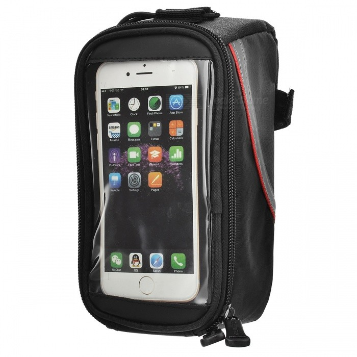 ROSWHEEL 12496L-C5 Top Tube Belt Bag w/ 3.5mm Cable for 5.5 Touch Screen Phone - Black + Red