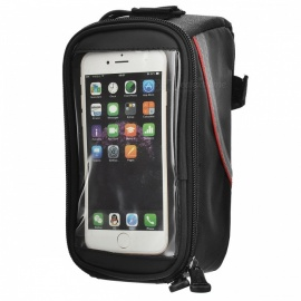 "ROSWHEEL 12496L-C5 5.5"" Bike Bag w/ 3.5mm Earphone Hole - Black + Red"