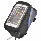 "ROSWHEEL 12496L-B5 Top Tube Belt Bag w/ 3.5mm Cable for 5.5"" Touch Screen Phone - Black + Blue"