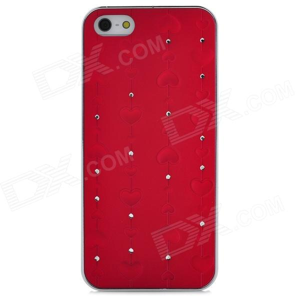 Romantic Heart Style Protective Plastic Hard Back Case for Iphone 5 - Red protective heart shape rhinestone decoration back case for iphone 5 brown