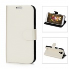 Drawing Pattern Protective PU + Plastic Flip-open Case w/ Stand for Samsung i9500 - White + Black