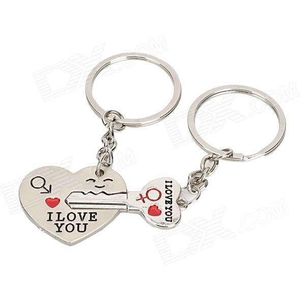 QIN-3 I Love You Zinc Alloy Keychain for Lovers - Silver (2 PCS) cute cartoon cat lovers style zinc alloy keychain silver 2 pcs