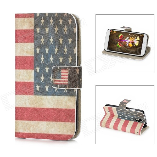 US Flag Pattern Protective Leather + Plastic Flip-open Case for Samsung i9500 - Red + Blue + Beige leopard print pattern protective plastic case w tail for samsung galaxy s4 i9500 black yellow