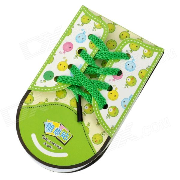 ZX-0416 Cute Shoe Style Sticky Memo Pad Note Paper - White + Green + Black (48 pieces) never rose gold sticky notes and memo pads set cute post note paper notepads set fashion office accessories stationery store
