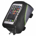 "ROSWHEEL 12496L-G5 5.5"" Top Tube Belt Bag w/ 3.5mm Cable for Touch Screen Phone - Black + Green"