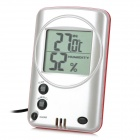 "QF668 2.15"" LCD Digital Indoor Thermometer / Hygrometer w/ Probe - White + Grey + Red"