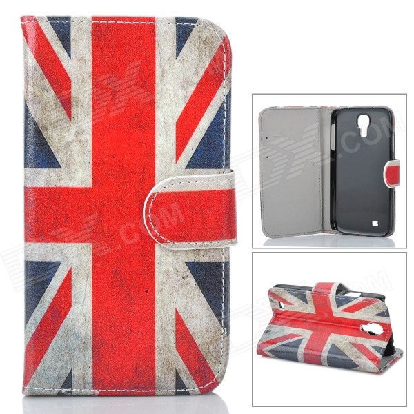 UK Flag Pattern Protective Leather + Plastic Case w/ Stand for Samsung i9500 - Red + Blue + Beige dynamic 3d skull pattern protective back case for samsung galaxy s4 i9500 black