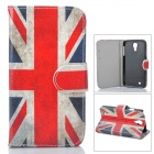 UK Flag Pattern Protective Leather + Plastic Case w/ Stand for Samsung i9500 - Red + Blue + Beige
