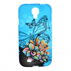 Colorful Flower Pattern Protective TPU Case for Samsung Galaxy S4 i9500 - Blue